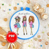 Cross stitch pattern «pdf-T-0128 Street Fashion»
