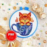 Cross stitch pattern «pdf-T-0148 Kitty in a Cup»