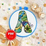 Cross stitch pattern «pdf-T-0180 Letter A»