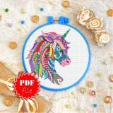 Cross stitch pattern «pdf-T-0211 Mandala Unicorn»