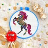 Cross stitch pattern «pdf-T-0223 Mandala Mustang»