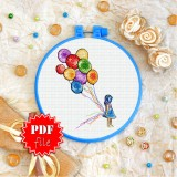 Cross stitch pattern «pdf-T-0233 Rainbow Balloons»