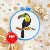 Cross stitch pattern «pdf-T-0243 Polygonal Toucan»