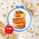 Cross stitch pattern «pdf-T-0301 Mother and Child Foxes»