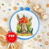 Cross stitch pattern «pdf-T-0326 Mushroom House»