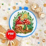 Cross stitch pattern «pdf-T-0355 Mushroom House»
