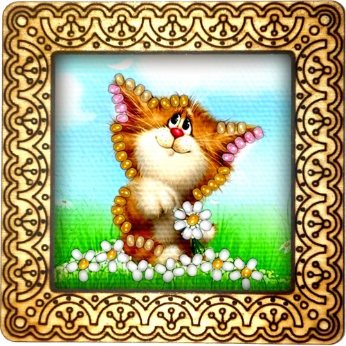Magnet bead embroidery kit «M-0026 Perplexed Kitty»