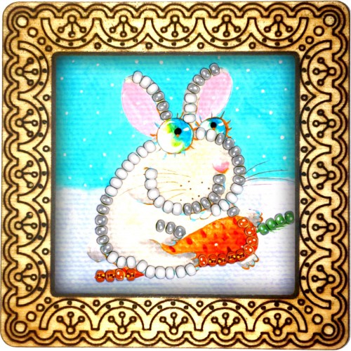 Magnet bead embroidery kit «M-0056 Bunny With A Carrot»