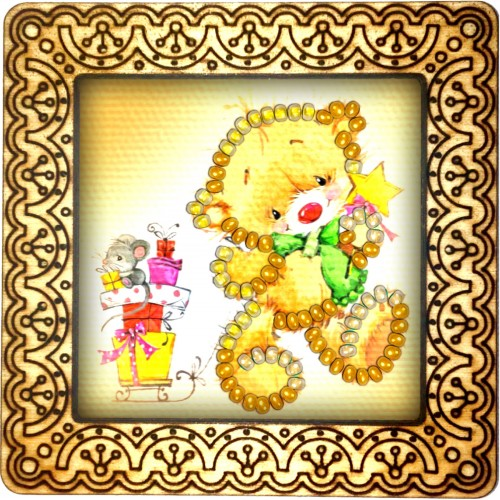 Magnet bead embroidery kit «M-0096 Teddy With A Green Tie»