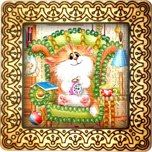 Magnet bead embroidery kit «M-0126 Kitty with Alarm Clock»