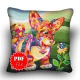 Pillow Cross stitch pattern «pdf-H-0009 Curious Corgi»