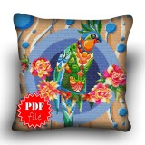 Pillow Cross stitch pattern «pdf-H-0019 Polly Parrot»