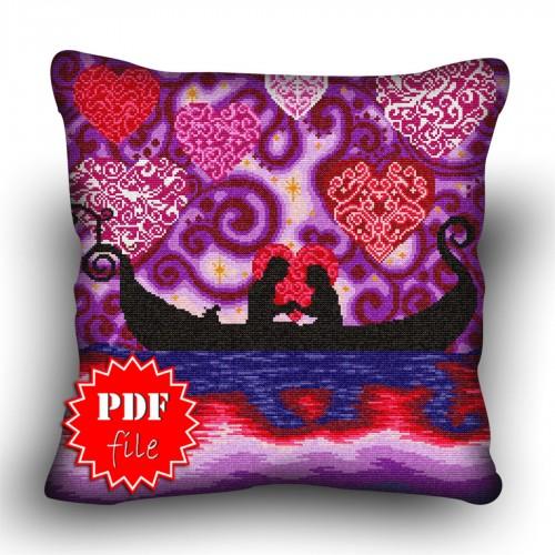 Pillow Cross stitch pattern «pdf-H-0039 Gondola Courtship»