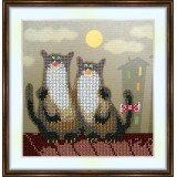 Bead embroidery kit «A-0089 Kitty Date on the Roof»