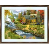 Bead embroidery kit «A-0199 Cottage by the Stream»