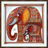 Bead embroidery kit «A-0269 Stylized Elephants»