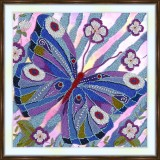 Bead embroidery kit «A-0320 Blue 'n Lavender Butterfly»