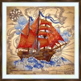 Bead embroidery kit «A-0527 Scarlet Sails»