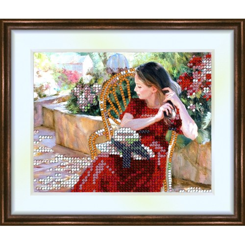 Bead embroidery kit «K-0048 Brushing her Hair»
