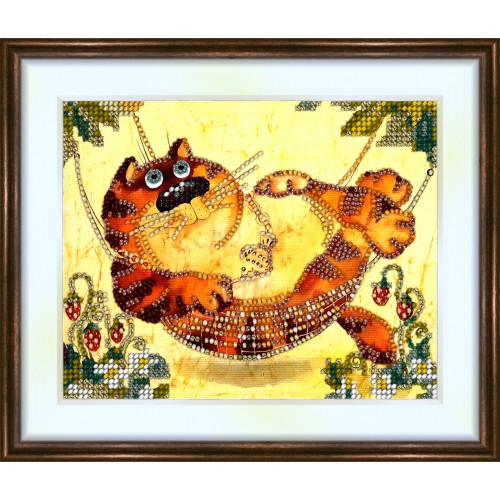 Bead embroidery kit «K-0068 Cat in the Hammock»