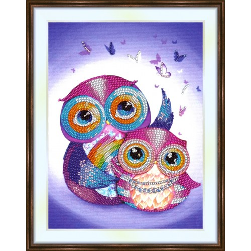 Bead embroidery kit «K-0159 Enchanted Owls»