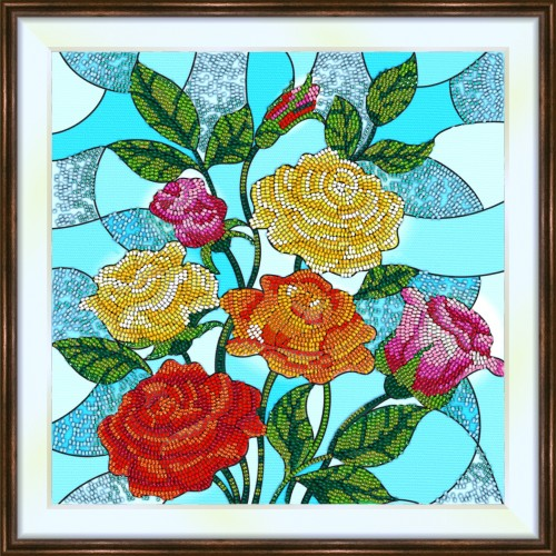 Bead embroidery kit «K-0199 Stained Glass Roses 1»