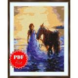 Cross stitch pattern «pdf-S-0009 Horse Strolling»