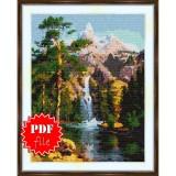Cross stitch pattern «pdf-S-0021 Mountain Waterfall»