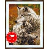 Cross stitch pattern «pdf-S-0030 The Wolf Pair»