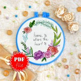 Cross stitch pattern «pdf-T-0069 Home is Where the Heart Is»
