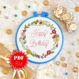 Cross stitch pattern «pdf-T-0079 Happy Birthday 5»