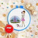 Cross stitch pattern «pdf-T-0129 Walking Her Dog in Paris»