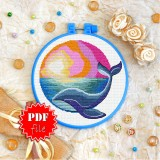 Cross stitch pattern «pdf-T-0164 Blue Whale»