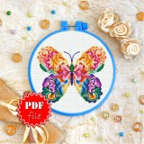 Cross stitch pattern «pdf-T-0181 Mandala Butterfly»