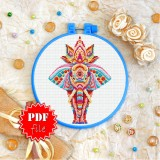 Cross stitch pattern «pdf-T-0202 Mandala Indian Elephant»