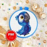 Cross stitch pattern «pdf-T-0225 Blue Parrot»