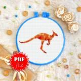 Cross stitch pattern «pdf-T-0244 Polygonal Kangaroo»