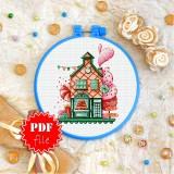 Cross stitch pattern «pdf-T-0292 Gingerbread House»