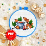 Cross stitch pattern «pdf-T-0310 Tea with Physalis»