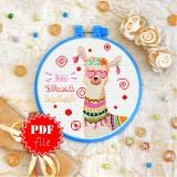 Cross stitch pattern «pdf-T-0327 No Drama Llama»