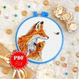 Cross stitch pattern «pdf-T-0345 Chanterelles and Bee»