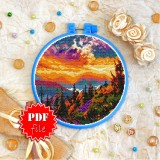 Cross stitch pattern «pdf-T-0378 Sunset in the Mountains»