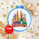 Cross stitch pattern «pdf-T-0438 Kuala Lumpur»