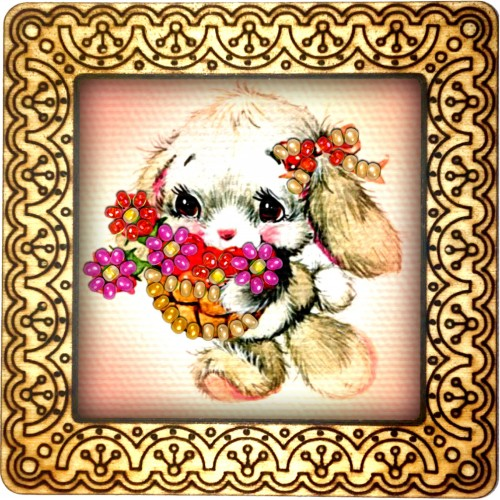 Magnet bead embroidery kit «M-0037 Lop-Eared Bunny with Flowers»