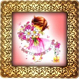 Magnet bead embroidery kit «M-0047 The Pink and White Bouquet»