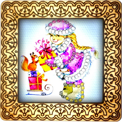 Magnet bead embroidery kit «M-0097 A Gift for Mr. Squirrel»