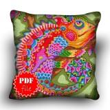 Pillow Cross stitch pattern «pdf-H-0020 Chic Chameleon»