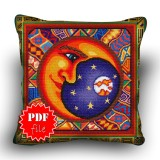Pillow Cross stitch pattern «pdf-H-0030 Magisterial Moon»