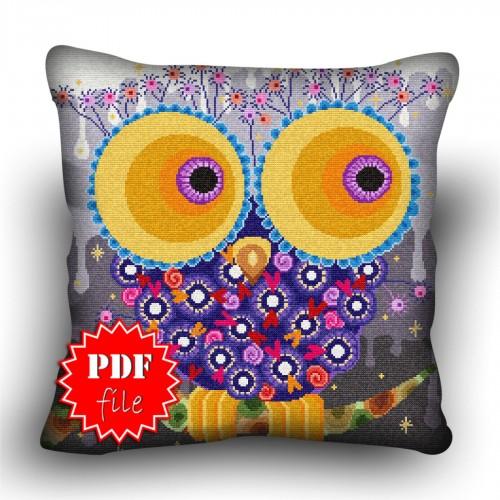 Pillow Cross stitch pattern «pdf-H-0040 Outlandish Owl»