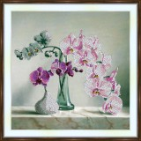 Bead embroidery kit «A-0271 Pink and Purple Orchids»